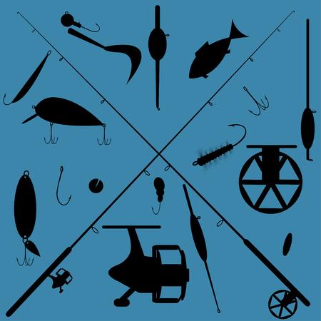 sinker: Fishing equipment icons set on blue background, vector Illustration
