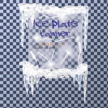 icicles: Realistic ice plate banner with icicles and snow on transparent background, vector Illustration