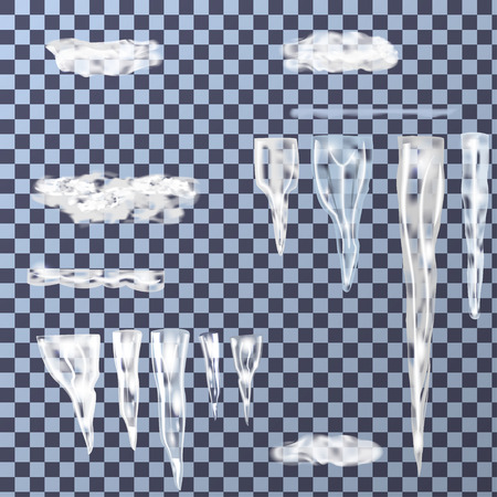 고드름의 집합은 눈과 얼음 조각으로 다양한 크기, 형태 및 음영으로 구성 할 수 있습니다. 고드름의 여러 그룹을 간단하게 구성 할 수 있습니다. 벡터 일러스트