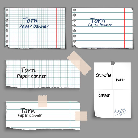 torn paper edge: Paper banners set, torn and crumpled, lined different form, vector Illustration