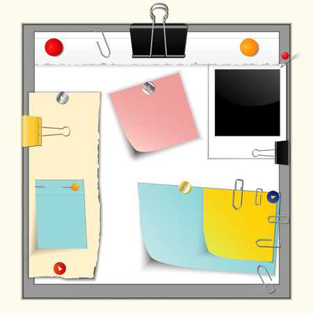 paper forms: Set of torn paper banners and stickers, different colors and forms, retro photo frame, with office supplies and pins, vector