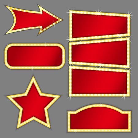 Conjunto de banderas de diferentes formas retro con espacio para el texto, el color rojo con oro brillante derrame cerebral, vector