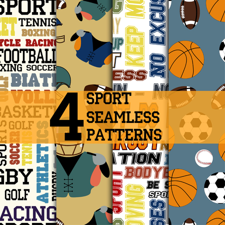 motivations: Set of four sport seamless patterns, text structures with name of sports and motivations, different balls and football uniform, vector Illustration