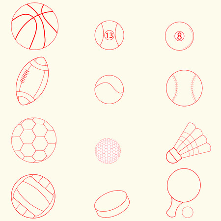 red line: Set of sport icons, red line flat design
