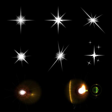 lucero: Conjunto de brillantes luces de estrellas sobre fondo negro Vectores