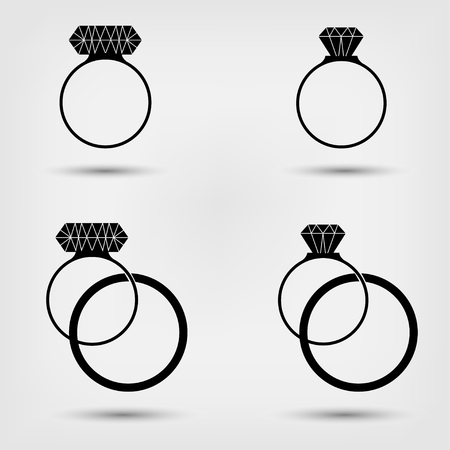 ring ruby: Engagement, wedding ring with diamond and ruby icons set, flat design