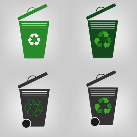 segregate: Set of four recycle bin, garbage can