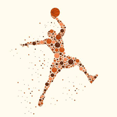 Silhouette of basketball player with the ball in the air filled with basketballs different sizes and colors