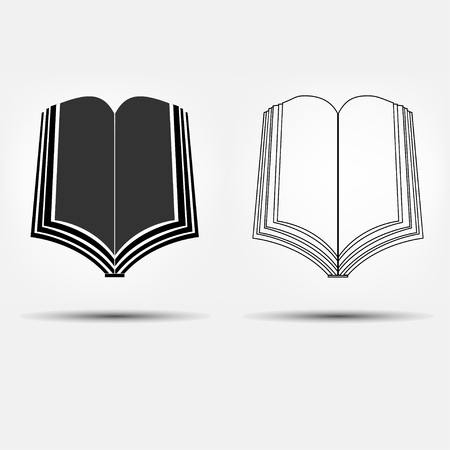 e reader: Set of two open book icons, flat and line design