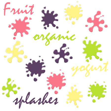Fruit yogurt splashes, organic milk products labels, different colors and forms