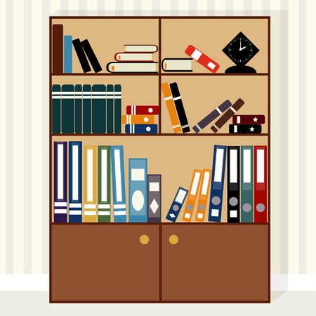 bookcase: Large bookcase with books, textbooks and notebooks and folders, clock on the shelfs, vector.