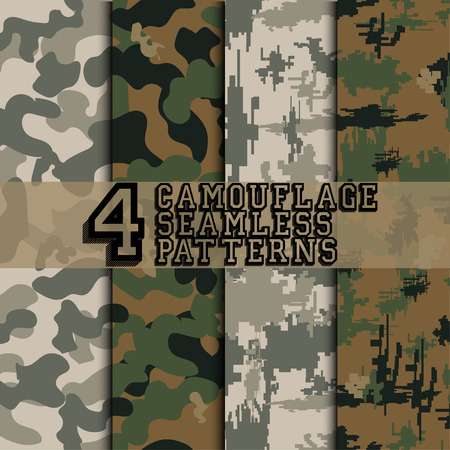 disruptive: Set of four camouflage seamless patterns, military style background, digital style camouflage, vector