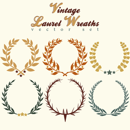 branches with leaves: different colours laurels wreaths, eps 10, vector
