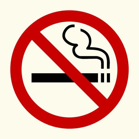 Muestra de no fumadores en el círculo rojo, vector