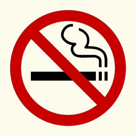 smoking a cigar: No smoking sign in red circle, vector