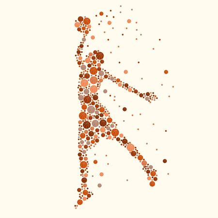 Silhouette of basketball player with the ball in the air filled with basketballs different sizes and colors. vector