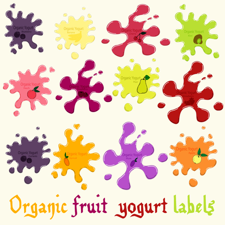 Fruit yogurt splashes or blots, organic milk products labels, different colors and forms, vector