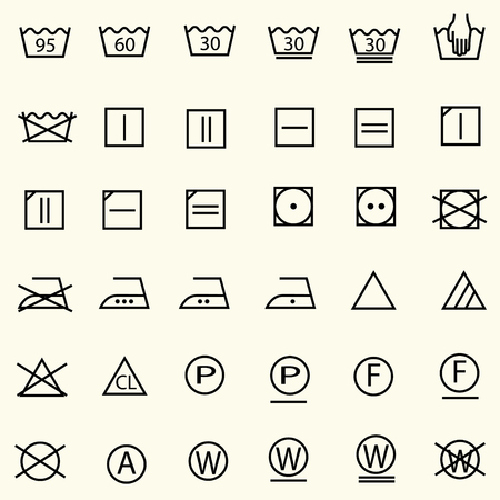 Set of textile care sign, laundry care icons, thin line design, vector Illustration