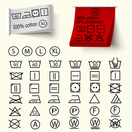 Set van textielverzorging teken, wasserij zorg iconen, dunne lijn ontwerp, textiel etiketten met weefselstructuur rood en wit, vector