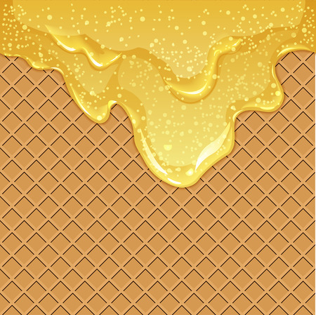 Seamless waffle background with flowing honey or maple syrup with air bubbles, vector