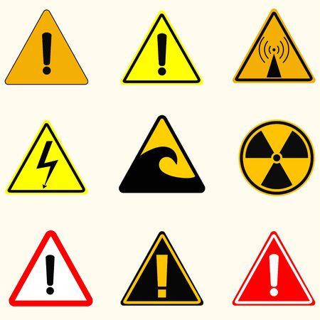 danger of radiation: Caution signs danger radiation, the radio emission, high voltage tsunami and other signs, vector