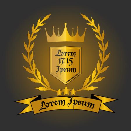 Logo con corona d'oro, corona di alloro, scudo con il testo e il nastro con il testo, vettore