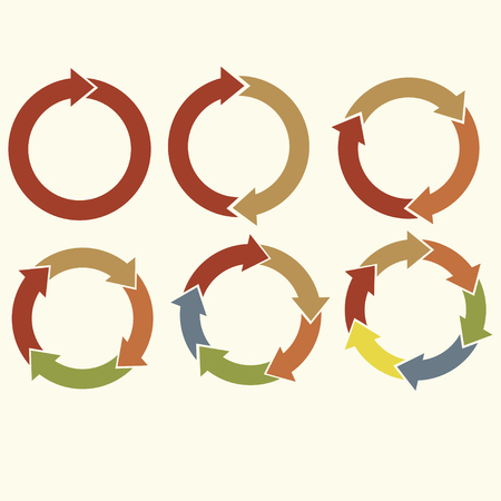 cycle arrows: Set of cycle arrows different colores for infographic, vector