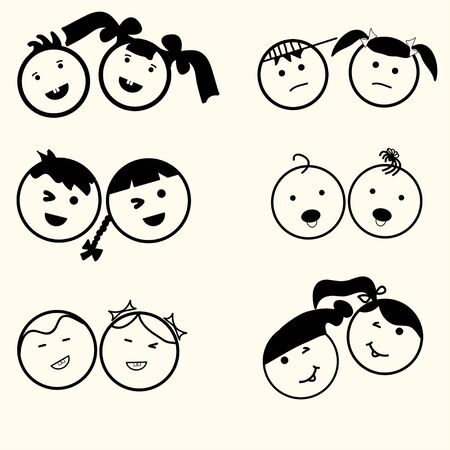 baby girl: Kids icons set, boys and girls, children symbols, happy faces, smile children, boy and girl silhouette, linear design - vector