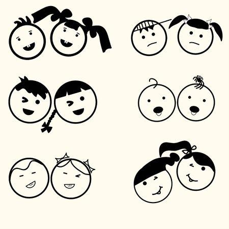 niño y niña: Niños fijadas iconos, niños y niñas, los niños símbolos, caras felices, sonríen los niños, chico y chica silueta, diseño lineal - vector