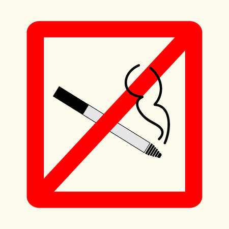 pernicious habit: No smoking sign in red rectangle. Can be used on table in cafe, vector