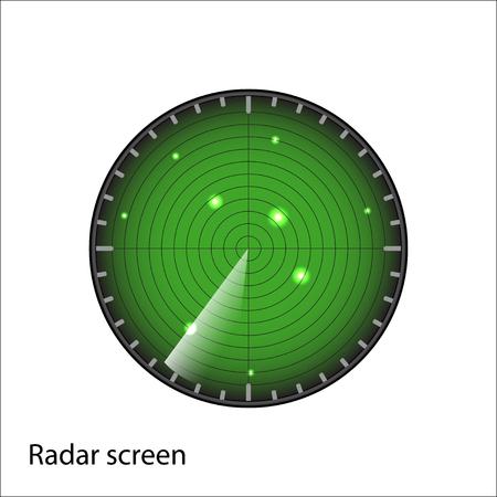 blip: green radar screen on white background vector