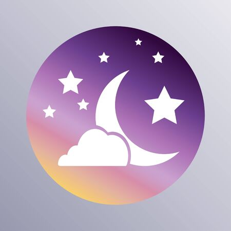 dark cloud: Moon, clouds and stars icon. Sleep dreams symbol. Night or bed time sign, vector Illustration