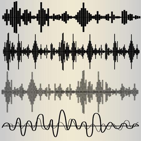 equalize: Set of four sound waves, audio equalize, pulse musical, vector