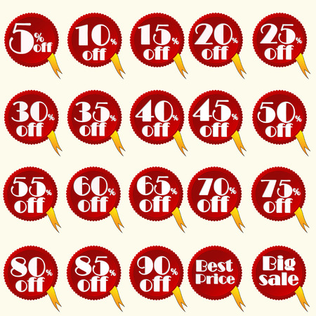 yelow: red discount stickers set, you can easily change color and size or delete yelow tape, vector