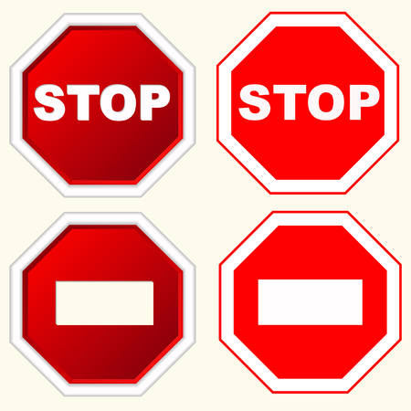 octagonal: STOP Red octagonal stop sign for prohibited activities with white inscription, vector Illustration