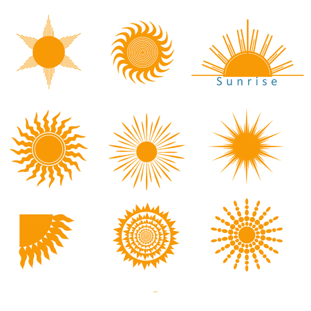 suns: Different suns icons, symbols, shapes isolated in white. vector