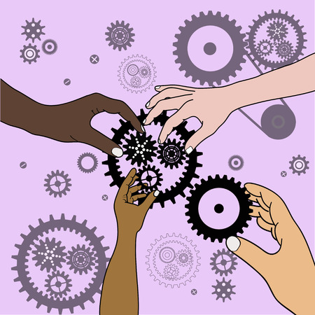 planetary: Four Hands with gears collect one planetary gear, teamwork, on a pink background with gears, vector