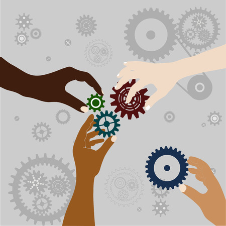 four hands: Four Hands with gears collect one mechanism, teamwork, on a gray background with gears, vector