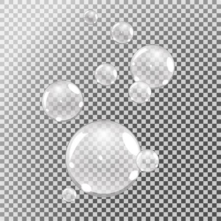 Bolle subacquee, bolle d'acqua su fondo trasparente, vettore Vettoriali