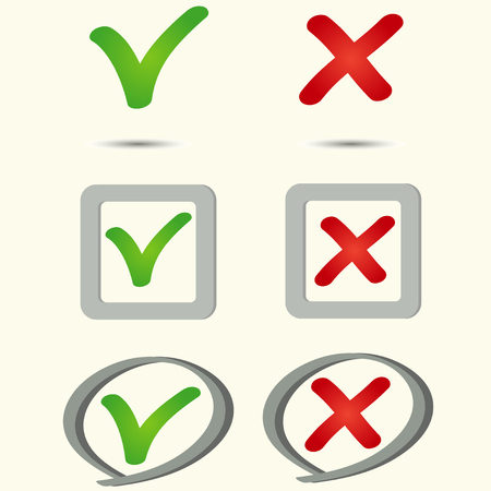 yes no: Tick and cross icons, yes no symbols green an red, vector