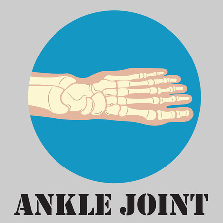 cuboid: Human ankle joint emblem, medicine clinic symbol design, joints diagnostics center, Illustration