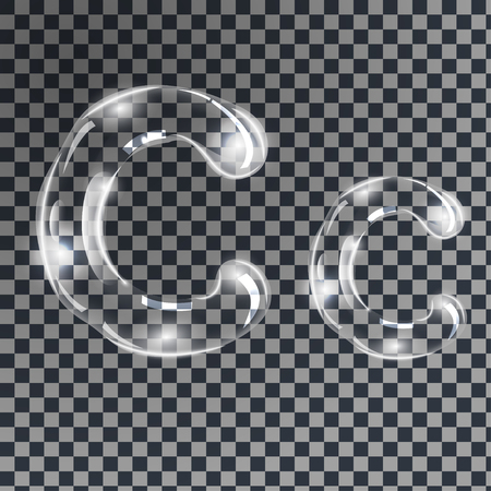 Gentle underwater or soap bubbles in the shape of letter C in gray shades on transparent background, vector