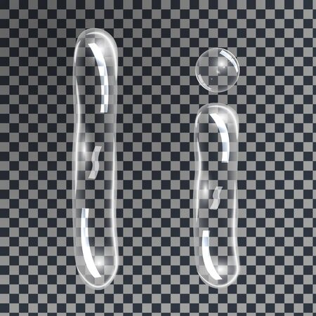 Gentle underwater or soap bubbles in the shape of letter I in gray shades on transparent background, vector
