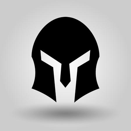 Spartan Helmet full face silhouette, symbol of gladiator soldier or greek warrior or roman legionary, helmet hero sign, vector Illustration