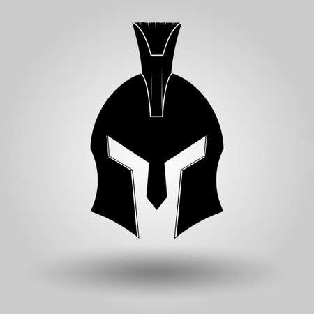 trojan: Spartan Helmet full face silhouette, symbol of gladiator soldier or greek warrior or roman legionary, helmet hero sign, vector Illustration