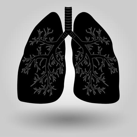 respiratory tract: Silhouette of a human lung, medicine, clinic symbol design, lung cancer diagnostics center emblem, vector