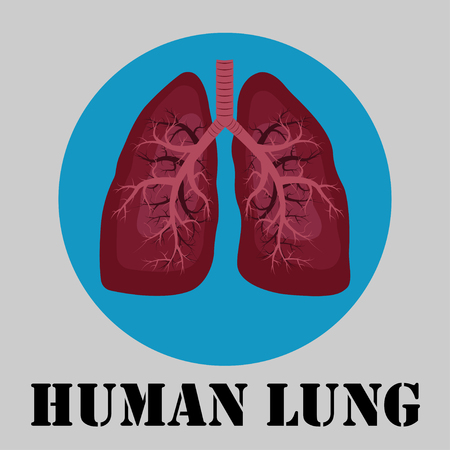 Human lung emblem, medicine, clinic symbol design, cancer diagnostics center, flat design, vector