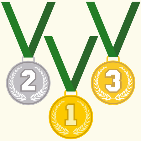 silver medal: Set of signs medal, first second and third place, golden silver and bronze medals with laurels wreath and green ribbon, flat design medal icon, vector Illustration