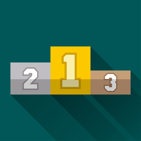 places: Winners pedestal, first second and third places, flat design icon or emblem with long shadow, vector