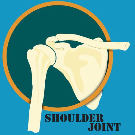 人間の肩関節、医学、クリニックのシンボル デザイン、脊椎診断センター、フラットなデザイン、ベクトル